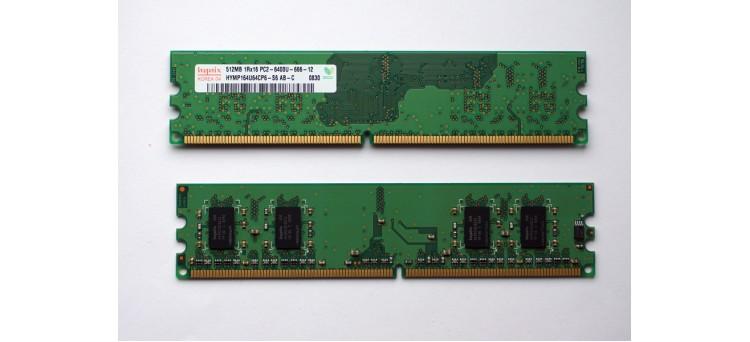 2 x Used PC RAM Memory Modules 512MB 1Rx16 PC2-6400U-666-12 DDR2